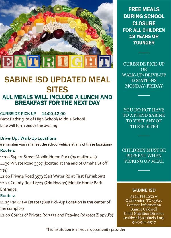 Sabine ISD Will be Providing Free Meals