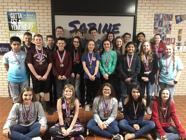 Sabine Middle School – TMSCA Team  1st Sweepstakes Victory