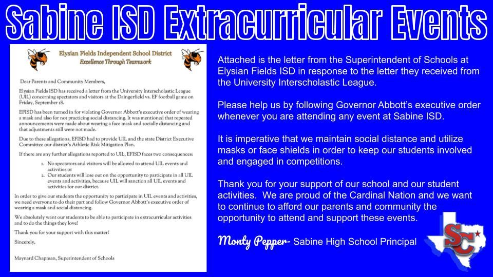 Sabine ISD Extracurricula Events