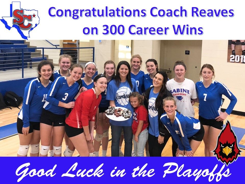Sabine High School would like to Congratulate Coach Reaves on 300 Career Wins.  That is an awesome!