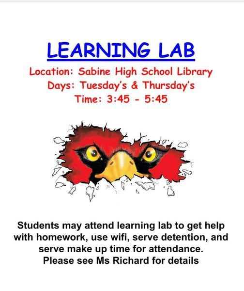 Learning Lab Tuesday's and Thursday's 3:45 - 5:45